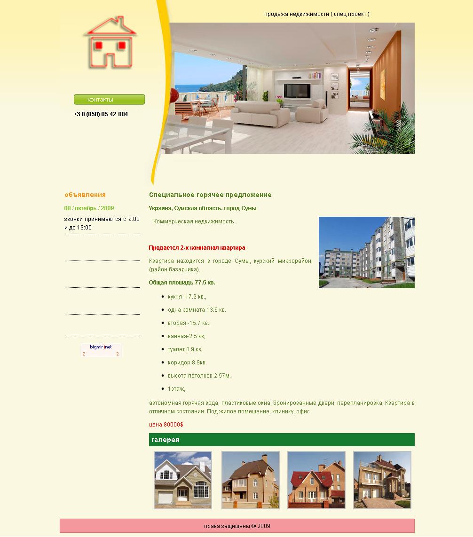 248 Сайт-визитка по продаже квартиры
